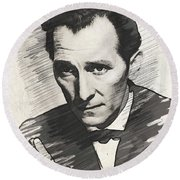 Peter Cushing, Vintage Actor Round Beach Towel