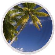 Polynesian Beach With Palms Round Beach Towel