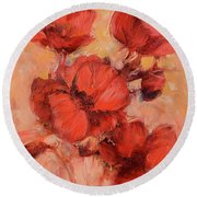Poppy Flowers Handmade Oil Painting On Canvas Round Beach Towel