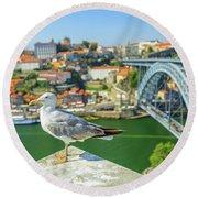 Porto Skyline Seagull Round Beach Towel