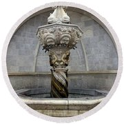 Public Fountain In Dubrovnik Croatia Round Beach Towel