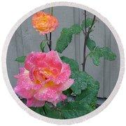 5 Roses In Rain Round Beach Towel