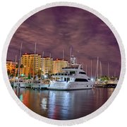 St Petersburg Florida City Skyline And Waterfront At Night Round Beach Towel