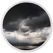 Storm On Karakul Lake Round Beach Towel by Konstantin Dikovsky