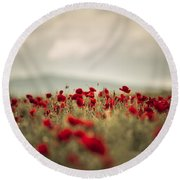 Summer Poppy Meadow Round Beach Towel