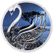 Swan Art. Round Beach Towel