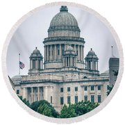 The Rhode Island State House On Capitol Hill In Providence Round Beach Towel