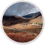 Top View Of Kupup Valley, Sikkim, Himalayan Mountain Range Round Beach Towel