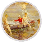 Tuke Henry Scott Ruby Gold And Malachite Henry Scott Tuke Round Beach Towel