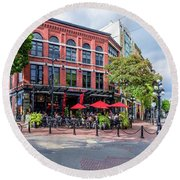Outdoor Cafe In Gastown, Vancouver, British Columbia, Canada Round Beach Towel