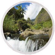 View Of Iao Needle Round Beach Towel