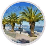 Walkway In Nafplio Town Round Beach Towel