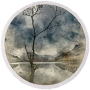 Watercolour Painting Of Beautiful Autumn Fall Landscape Image Of Round Beach Towel