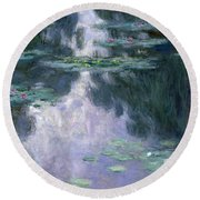 Waterlilies Round Beach Towel by Claude Monet