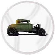 5 Window Hot Rod Round Beach Towel