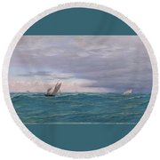 Yachts In A Stormy Sea Round Beach Towel