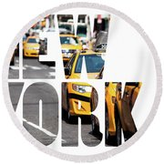 Yellow Cab Speeds Through Times Square In New York, Ny, Usa.  Round Beach Towel