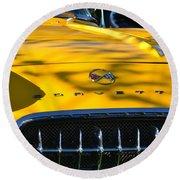 Yellow Corvette Round Beach Towel