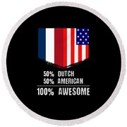 50 Dutch 50 American 100 Awesome Round Beach Towel
