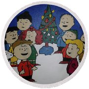 50 Years A Charlie Brown Christmas Acrylic Painting Round Beach Towel