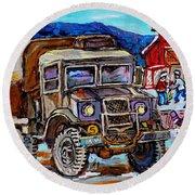 50's Dodge Truck Red Wood Barn Outdoor Hockey Rink  Art Canadian Winter Landscape Painting C Spandau Round Beach Towel