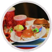 50's Style Food Malt Hamburger Tray  Round Beach Towel