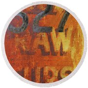 527 Raw Furs Round Beach Towel