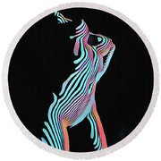 5291s-mak Nude Female Torso Rendered In Composition Style Round Beach Towel