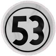 53 Herbie B W Round Beach Towel