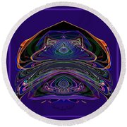 543 - Design Purple Abstract Abstract Round Beach Towel