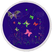 558   Butterflies  V Round Beach Towel