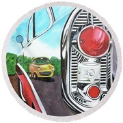 56 Chevy Reflections Round Beach Towel