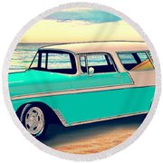56 Nomad By The Sea In The Morning With Vivachas Round Beach Towel