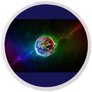 56996 3d Space Scene Colorful Digital Art Earth Round Beach Towel