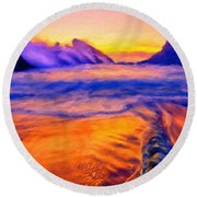A Landscape Drawing Round Beach Towel