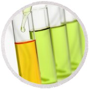 Laboratory Experiment In Science Research Lab Round Beach Towel