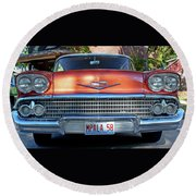 '58 Chevy Comin' Atcha Round Beach Towel