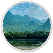 Lijiang River And Karst Mountains Scenery Round Beach Towel