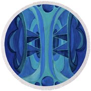 5th Mandala - Throat Chakra Round Beach Towel