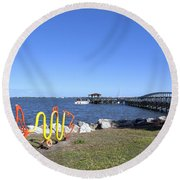 Indian River Lagoon At Eau Gallie In Florida Usa Round Beach Towel