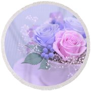 A Gift Of Preservrd Flower And Clay Flower Arrangement, Blue And Round Beach Towel