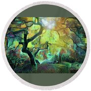 6 Abstract Japanese Maple Tree Round Beach Towel