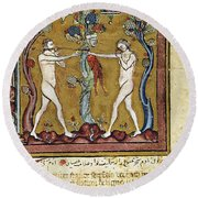 Adam And Eve Round Beach Towel