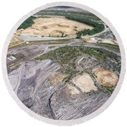 Aerial View Over The Building Materials Processing Factory.  Round Beach Towel