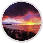 Antelope Island Sunset Round Beach Towel