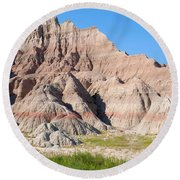 Badlands National Park South Dakota Round Beach Towel