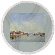 Banks Of The Loing Round Beach Towel