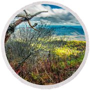 Beautiful Autumn Landscape In North Carolina Mountains Round Beach Towel