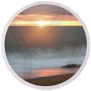 Beautiful Vibrant Sunset Landscape Image Of Burton Bradstock Gol Round Beach Towel