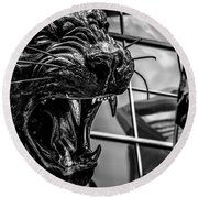 Black Panther Statue Round Beach Towel